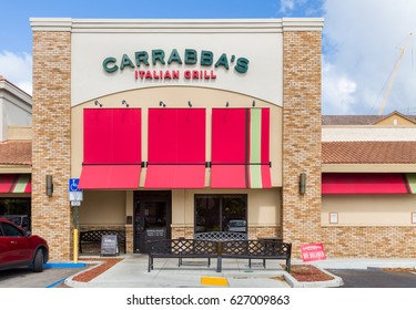 FORT LAUDERDALE, FLA/USA - APRIL 14, 2017: Carrabba's Italian Grill exterior. Carrabba's is an American restaurant chain featuring Italian-American cuisine.