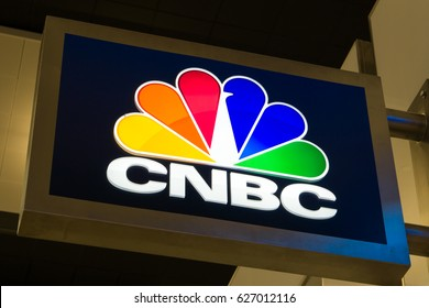 FORT LAUDERDALE, FLA/USA - APRIL 15, 2017: CNBC trademark emblem and logo. CNBC is an American basic cable business news television channel that is owned by NBCUniversal News Group.