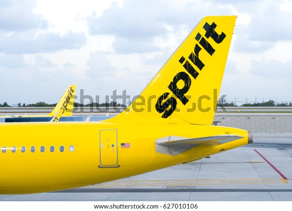 FORT LAUDERDALE, FLA/USA - APRIL 15, 2017: Spirit Airlines jet airplane. Spirit Airlines, Inc. is an American low cost carrier.
