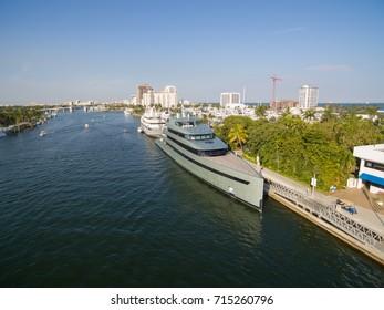 FORT LAUDERDALE, FLORIDA - 28 JAN 2017: Luxury yacht parked in Fort Lauderdale Bay, Florida USA. Aerial view.