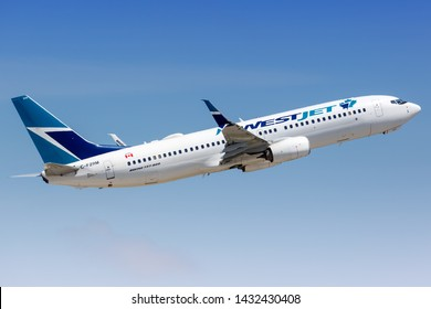 Fort Lauderdale, Florida – April 6, 2019: Westjet Boeing 737-800 airplane at Fort Lauderdale airport (FLL) in the United States.