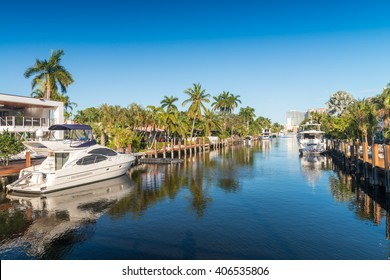 Fort Lauderdale, Florida. Beautiful view of city canals.