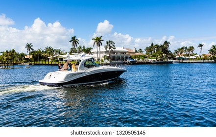 FORT LAUDERDALE, FLORIDA - February 24, 2018: The Intracoastal Waterway is 3,000-miles long from Boston, Massachusetts, around the southern tip of Florida to Brownsville, Texas