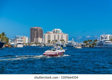 FORT LAUDERDALE, FLORIDA - February, 25, 2018: The Intracoastal Waterway is 3,000-miles long from Boston, Massachusetts, around the southern tip of Florida to Brownsville, Texas.