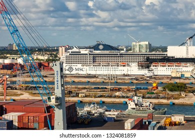 Fort Lauderdale, Florida - January 12, 2013:  Port Everglades is one of South Florida's foremost economic centers, as it is the gateway for both international tr