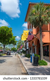 FORT LAUDERDALE, FLORIDA - JULY 14 - A street view of buildings and retail shops along the main drag on July 14 2018 in Fort Lauderdale Florida.