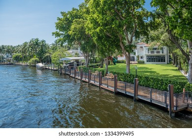 FORT LAUDERDALE, FLORIDA - JULY 14 - Beautiful properties along the canals on July 14 2018 in Fort Lauderdale Florida.