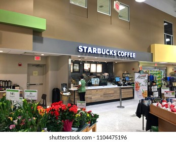 FORT LAUDERDALE, FLORIDA - JUNE:  Starbucks coffee shop inside the Publix grocery next to Port Everglades.  Harbor Publix is one of the busiest Publix in the USA, as seen on June 3, 2018.