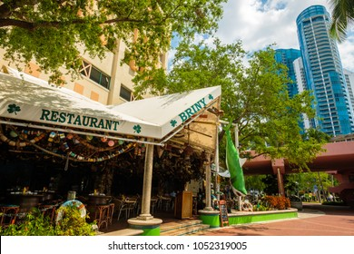 Fort Lauderdale, Florida - March 20, 2018: Cityscape view of the popular Las Olas Riverwalk downtown district along the promenade.