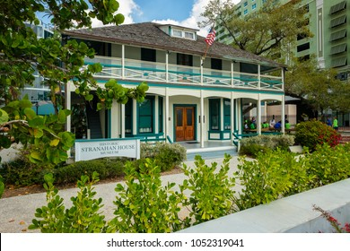 Fort Lauderdale, Florida - March 20, 2018: Cityscape view of the historic Stranahan House Museum in the popular Las Olas Riverwalk downtown district.