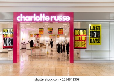 Fort Lauderdale, Florida March 30th 2019 Charlotte Russe store going out of business last day open sale