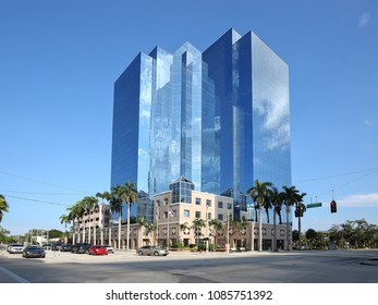 """FORT LAUDERDALE, FLORIDA, MAY 7: Broward County Public Schools downtown headquarters, the Kathleen C. Wright School Board Building also known as """"The Crystal Palace"""" as seen on May 7, 2018."""