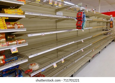 FORT LAUDERDALE, FLORIDA:  Supermarket bread aisle is sold out at a local grocery store as residents shop and prepare for Hurricane Irma, a dangerous category 5 hurricane as seen on September 8, 2017.