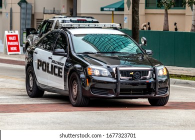 Fort Lauderdale, Florida / USA - 1/30/2019: Up Close of a black and white Hollywood Police interceptor cruiser car. GM 2018 Chevrolet Caprice automobile by General Motors Corporation. High performance