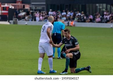 Fort Lauderdale, Florida, USA - April 18, 2021: Inter Miami CF against LA Galaxy, first home match at MLS 2021 season at DRV Pink Stadium