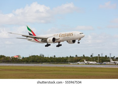 Fort Lauderdale, Florida - USA, January 14, 2017: Emirates Boeing 777-200 landing at the Fort Lauderdale/Hollywood International Airport.