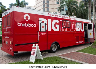 FORT LAUDERDALE, FLORIDA, USA - JULY 2, 2018: OneBlood Big Red Bus mobile blood donation center at Nova Southeastern University main campus