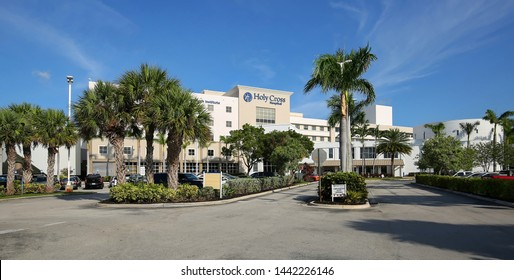 FORT LAUDERDALE, FLORIDA, USA - JULY:  Holy Cross Hospital, a non-profit, 557-bed hospital that opened in 1955 as a Catholic teaching hospital as seen on July 2, 2019.