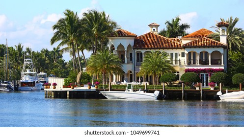 Fort Lauderdale, Florida, USA - March  21, 2014: Gorgeous villa in Fort Lauderdale, Florida