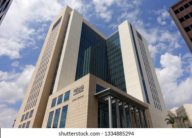 FORT LAUDERDALE, FLORIDA, USA - MARCH:  Looking up at the Broward County Judicial Complex located in downtown Fort Lauderdale as seen on March 6, 2019.
