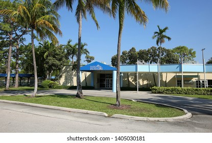 FORT LAUDERDALE, FLORIDA, USA - MAY:  City of Fort Lauderdale's Park and Recreation Center building located in Holiday Park, offering varied recreational activities as seen on May 13, 2019.