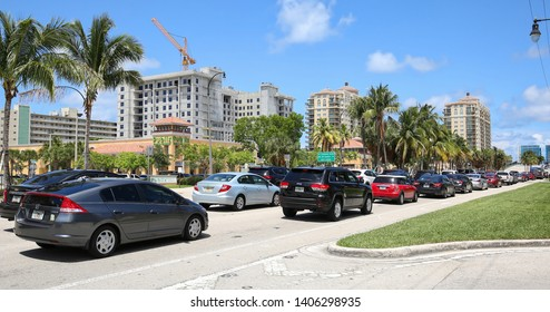 FORT LAUDERDALE, FLORIDA, USA - MAY:  Traffic jam going east on Sunrise Boulevard as the Sunrise Bridge goes up to allow boats to pass through as seen on May 19, 2019.