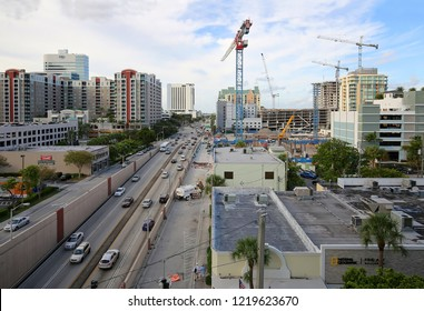 FORT LAUDERDALE, FLORIDA, USA - NOVEMBER:  Fort Lauderdale booming with building development, numerous cranes and projects are simultaneously in progress as seen on November 1, 2018.