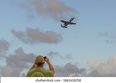 """Fort Lauderdale, Florida, USA - November 22, 2020: United States Air Force USAF A-10 Thunderbolt II (2) aka """"Warthog"""" the tank killer fixed wing jet outfitted with a 30mm rotary cannon at the Air Show"""