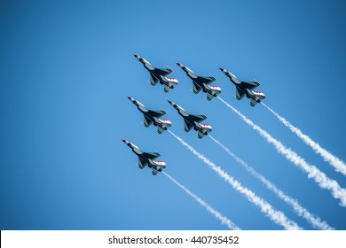 FORT LAUDERDALE, FLORIDA. USA. The U.S. Air Force squadron Thunderbirds flying in formation at the Fort Lauderdale airshow on May 08, 2016.  Editorial use.