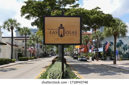 FORT LAUDERDALE, FLORIDA, USA: Welcome to Las Olas Boulevard sign greets visitors as they reach the premier shopping destination as seen on March 26, 2020.