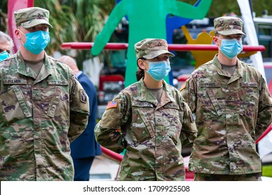 Fort Lauderdale, Florida/USA - April 17, 2020: Governor of Florida Ron DeSantis Press Conference at Urban League of Broward County, US Army Florida National Guard in N95 medical face mask