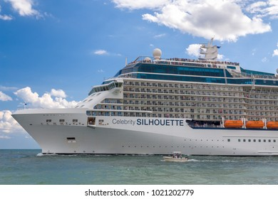 FORT LAUDERDALE, FL/USA - APRIL 9, 2017: Celebrity Silhouette cruise ship. Celebrity Cruises is a premium cruise line which was founded in 1988 by the Greece-based Chandris Group.