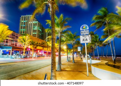 FORT LAUDERDALE - JANUARY 10, 2016: Oceanwalk at sunset. Fort Lauderdale is a major destination for tourists in Florida.