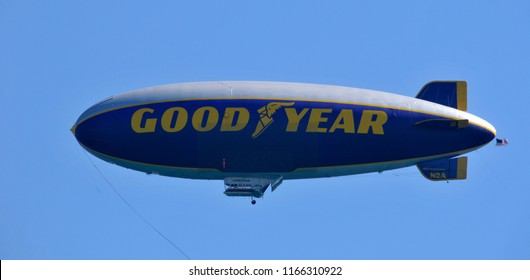 FORT LAUDERDALE NOV 08 2012: Goodyear Blimp is any one of a fleet of airships operated by the Goodyear Tire and Rubber Company, used mainly for advertising and capturing aerial views of live sporting