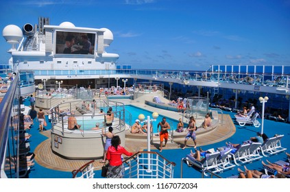 FORT LAUDERDALE NOV 2 2012: Upper deck of Star Princess cruise ship. Princess Cruises agreed to have their cruise ships featured in the television sitcom The Love Boat,