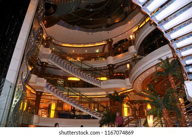 FORT LAUDERDALE NOV 2 2012: Indoor  of Star Princess cruise ship. Princess Cruises agreed to have their cruise ships featured in the television sitcom The Love Boat,