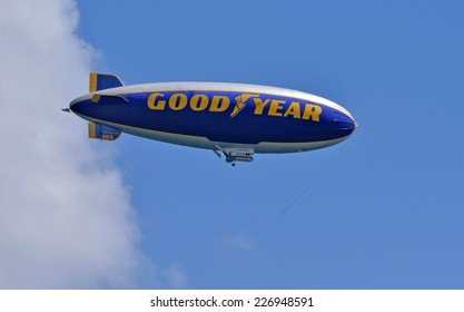 FORT LAUDERDALE - OCTOBER 11: Good Year blimp flies up and down the Florida coastline near Fort Lauderdale on October 11, 2014