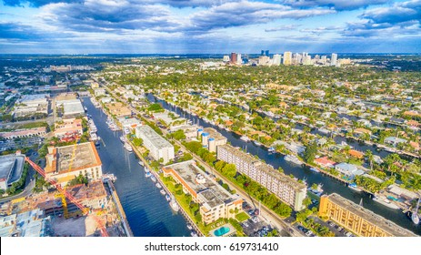 Fort Lauderdale skyline and canals aerial view, Florida - USA.