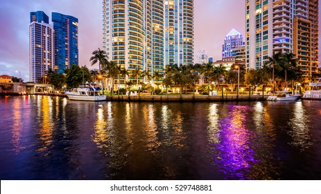 Fort Lauderdale skyline at night along New River