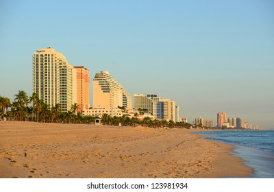 Fort Lauderdale south beach park at sunrise, Florida, USA