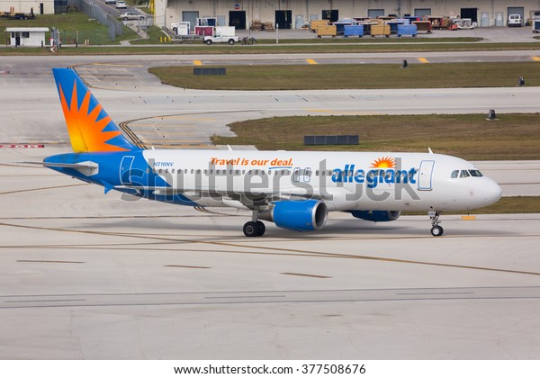 FORT LAUDERDALE, USA - FEBRUARY 15, 2016: An Allegiant Airlines Airbus taxiing at the Fort Lauderdale/Hollywood International Airport.