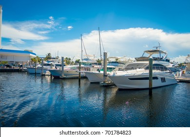 FORT LAUDERDALE, USA - JULY 11, 2017: A line of boats displayed for sale at the Fort Lauderdale International Boat Show