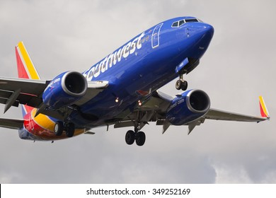 FORT LAUDERDALE, USA - JUNE 2, 2015: Southwest Airlines Boeing 737 with the new livery landing at the Fort Lauderdale/Hollywood International Airport.