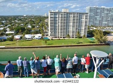 FORT LAUDERDALE, USA - MARCH 20, 2017 : Passengers waves for sail away of Royal Princess ship from Port Everglades. Royal Princess is operated by Princess Cruises and has a capacity of 4250 passengers