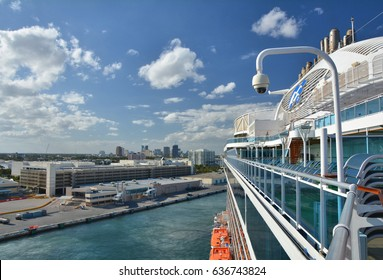 FORT LAUDERDALE, USA - MARCH 20, 2017 : Royal Princess ship sails away from Port Everglades. Royal Princess ship is operated by Princess Cruises line and has a capacity of 3600 passengers
