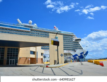 FORT LAUDERDALE, USA - MARCH 20, 2017 : Royal Princess ship docked in Port Everglades in Fort Lauderdale. Royal Princess ship is operated by Princess Cruises line and has a capacity of 3600 passengers