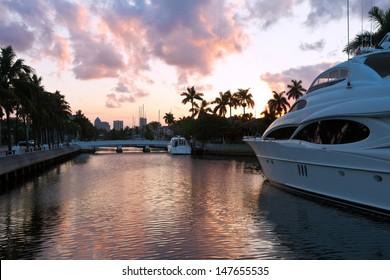 Fort Lauderdale yachts near Las Olas Boulevard, the main street, Miami, Florida, USA