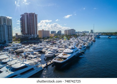FORT LAUDERDALE,FL, USA - NOVEMBER 4, 2017: Aerial image of the 2017 Ft Lauderdale Florida boat show USA