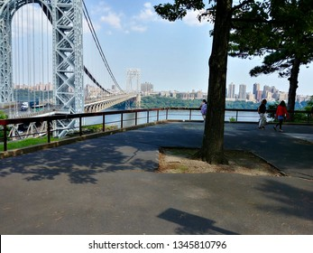 Fort Lee, NJ - August 24 2018: A scenic overlook at Fort Lee Historic Park
