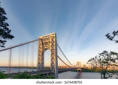 Fort Lee NJ USA 5/21/19 Long Exposure of the george washington bridge at sunset